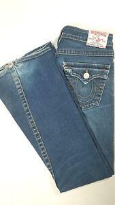 TRUE-RELIGION-Womens-JOEY-TWISTED-FLARE-Low-Rise-Jeans-Dark-Medium-Wash-Size-26