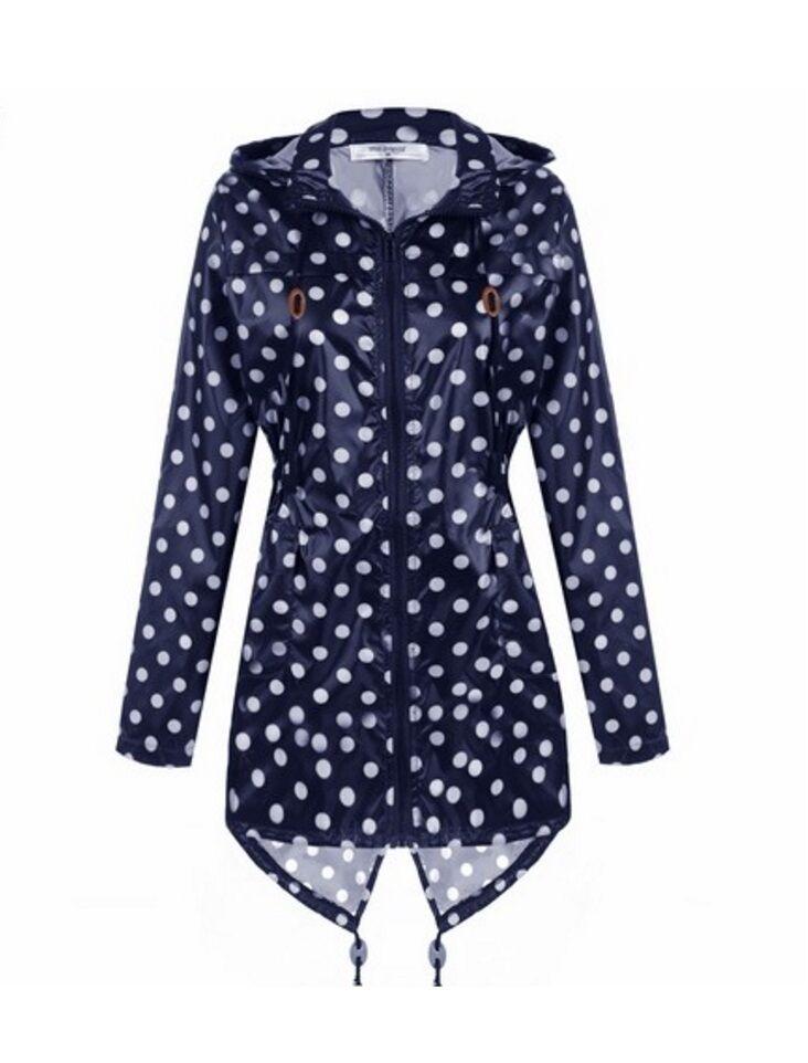 Polka Dots Rain Coat    For Women Outdoor Travel Waterproof Hooded Knee Length 04a44c