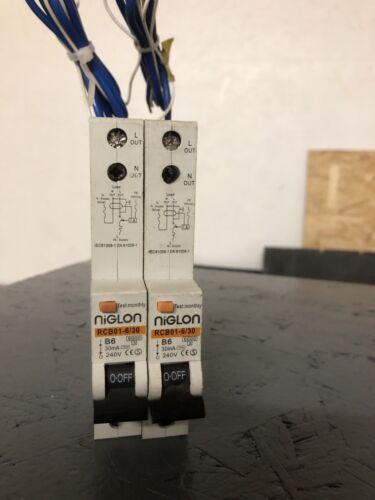 """/""""NIGLON/"""" 6 AMP TYPE B 6kA 30mA RCBO RCD//MCB RCBO1-6//30 fits Wylex"""