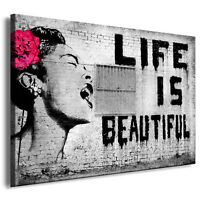 LIFE IS BEAUTIFUL Graffiti Banksy Street Art  Kunstdruck, Wandbild, leinwandbild