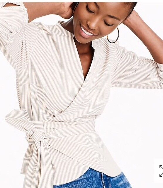 NWT    Wrap Top Blouse In Striped Stretch Cotton Khaki Weiß Größe XS