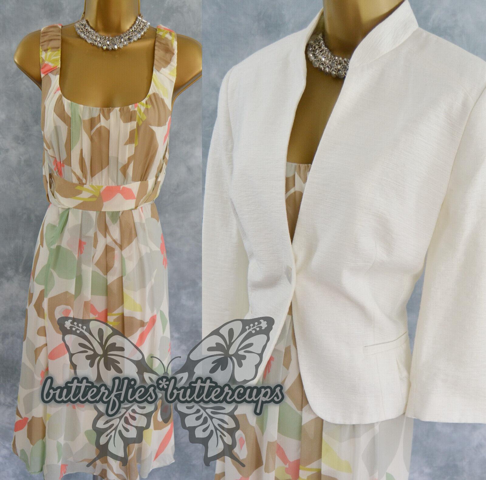 ~ FENN WRIGHT MANSON & CC PETITE ~ Size 14 Silk Dress & Jacket Mother of Bride