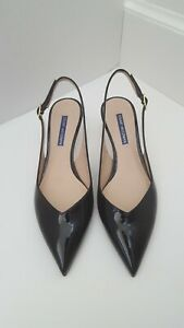 Stuart-Weitzman-Black-Patent-Leather-Pointed-Toe-Slingback-Heel-Shoes-Size-8-M