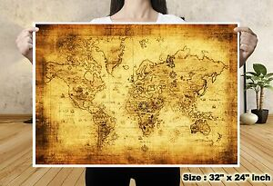 Treasure world map vintage silk canvas fabric poster tapestry bar image is loading treasure world map vintage silk canvas fabric poster gumiabroncs Images
