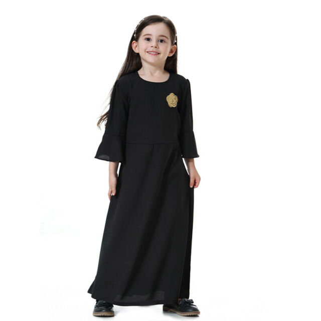 Muslim Kids Girls Floral Long Sleeve Dress Fashion Abaya Kaftan Maxi  Beach Robe