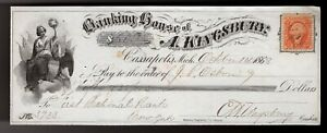 Bank Check,  1868 obsolete note from Banking House of A. Kingsbury #2 (NICE) ***