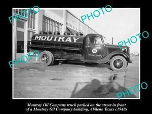 OLD-8x6-HISTORIC-PHOTO-OF-MOUTRAY-OIL-COMPANY-TRUCK-c1940s-ALIBENE-TEXAS