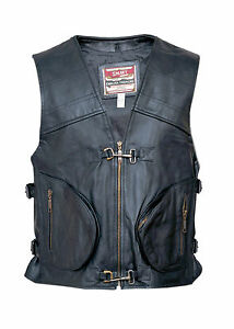 Classic-Mens-Motorcycle-Leather-Cheap-Waistcoat-Vest-Clearance-Discontinued