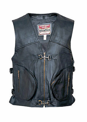Classic Mens Motorcycle Leather Cheap Waistcoat Vest Clearance Discontinued