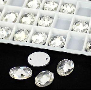 Oval corte de vidrio Coser 2 orificios Claro Cristal Estrás Flatback Bricolaje Boda
