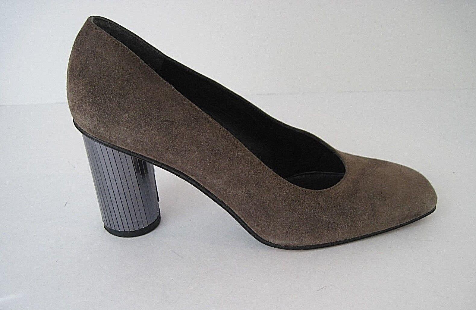 Stuart Weitzman Taupe Suede Pump Split Mirror Heel Detail Women's Size 6 1 2 M