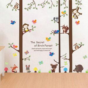 Details zu Wandtattoo Kinderzimmer Affe Fuchs Hase Eule Junge Mädchen Wald  Baum Vogel Tiere