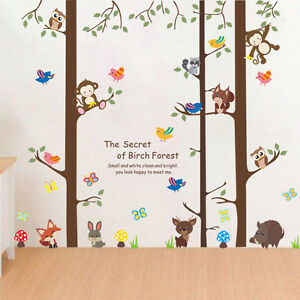 Wandtattoo Kinderzimmer Affe Fuchs Hase Eule Junge Madchen Wald Baum