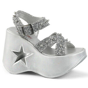 8f9b609836ab Image is loading DEMONIA-Gothic-Lolita-Star-Cutout-Platform-Silver-Wedge-