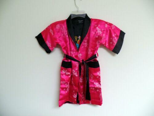 New Thai Silk-Blend Child/'s Robe Kimono Dark Pink Reversible Dragon//Unisex S