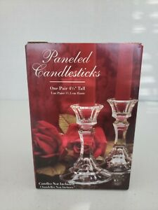 Vintage-Collectible-Indiana-Glass-6-034-Paneled-Crystal-Candlesticks-New-In-Box