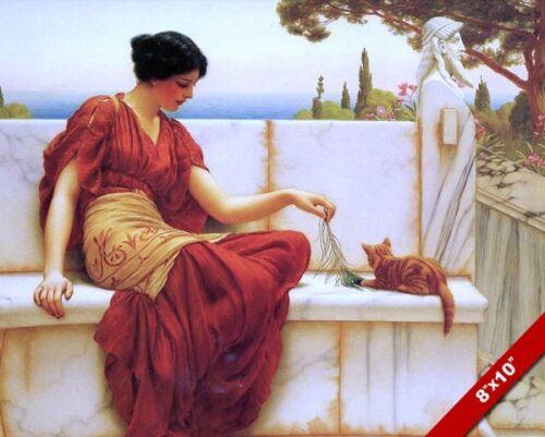 BEAUTIFUL YOUNG ROMAN WOMAN TEASING A CAT KITTEN PAINTING ART REAL CANVAS PRINT