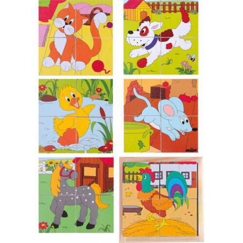 WÜRFELPUZZLE KINDER Bauernhof Tier Bilder Holzspielzeug Lernspiel Puzzle  90922 Holzspielzeug