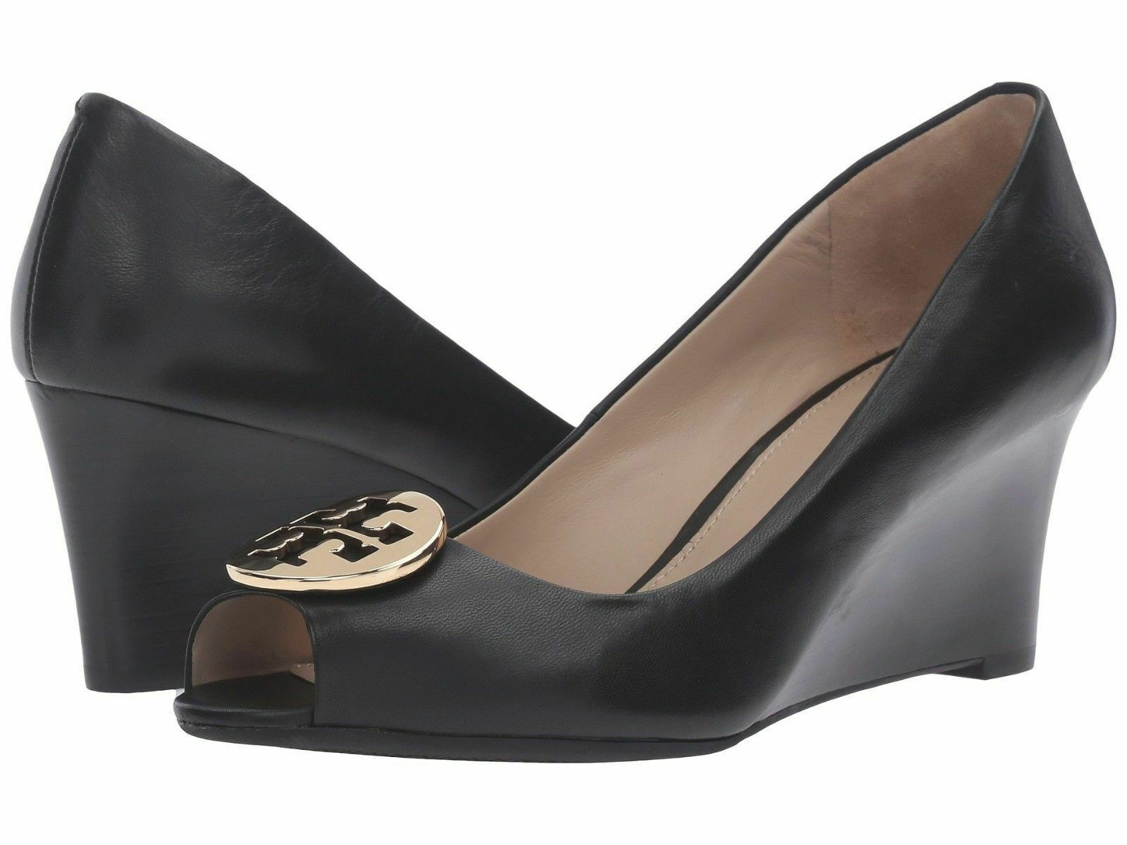NIB Tory Burch Leather Kara Wedge shoes BLACK size 11