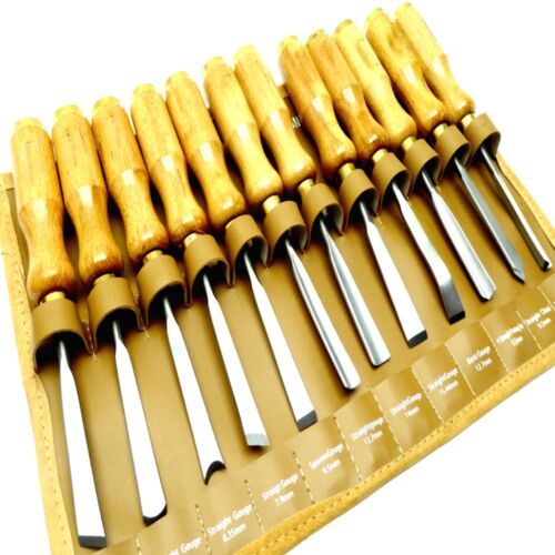V Parting Slew Spoon, 12pc Wood Carving Chisel Gouge Set Brass