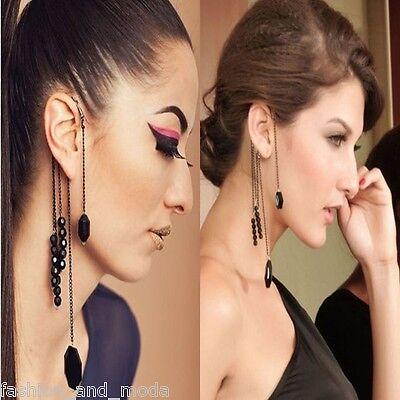 Ohrringe Ohrhänger Ohrstecker Ear Cuff Clip Ohrklemme Perlen Kette Gothic 35