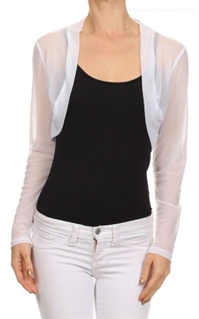 Womens Ladies Bolero Shrug Cardigans Sheer Mesh Chiffon Long Sleeve Cropped Tops