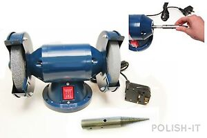 JEWELLERY-BENCH-GRINDER-POLISHER-200-WATT-150MM-WITH-R-H-PIGTAIL