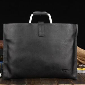 New-Genuine-Leather-Black-Mens-Womens-Laptop-Briefcase-Messenger-Bussiness-Bags
