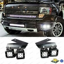 Fit 2010-14 Ford Raptor 80W 4pc CREE LED Fog Light Kit + Bumper Mounting Bracket