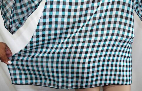 Sweet Candy Women Plus Size 1x 2x 3x Sheer Chiffon Plaid Tunic Top Blouse Shirt