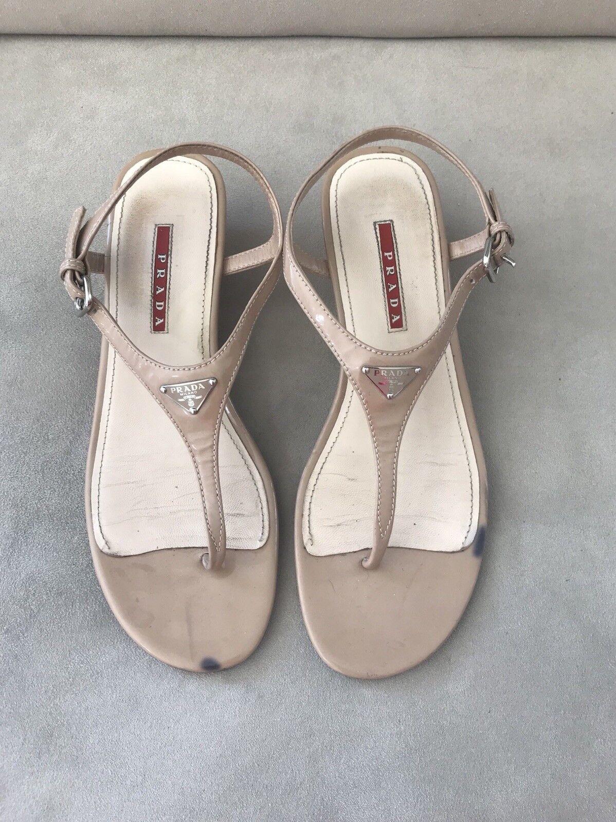 PRADA Nude Nude PRADA Patent Leather Sandlas Wedges Size 38.5EU 8f8609
