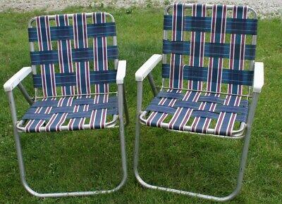 2 Vintage Mid Century Aluminum Chair Folding Lawn Patio ...