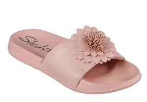 fcfa779b9c9b Skechers NEW 2nd Take Metal Petal pink flower flat slide comfort ...