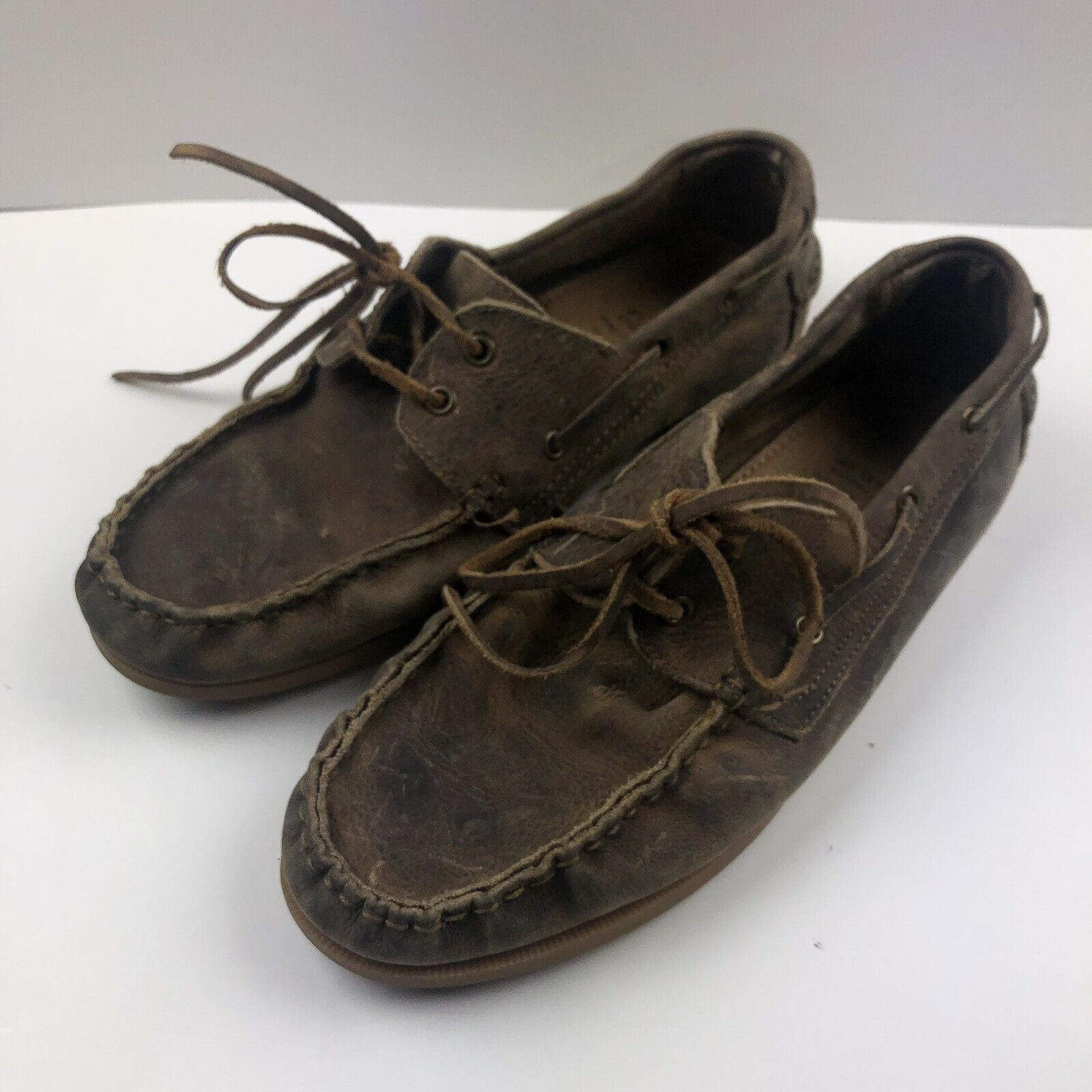 Men's Bed Stu marrón Distressed Leather Boat zapatos  Talla 11