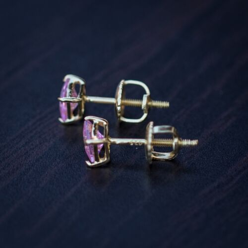 Gold Pink Princess Cut Simulated Diamond Screw back Solitaire Earrings