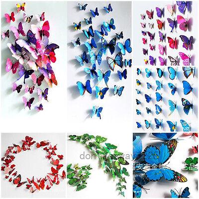 12pc Mode 3D Papillon Stickers Muraux Decal Accueil DIY Décoration de la Chambre
