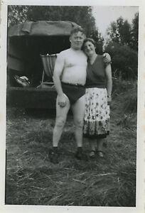 Couple Nu photo ancienne - vintage snapshot -curiositÉ couple homme torse nu