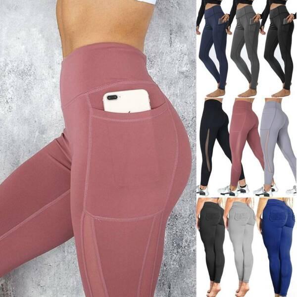 Damen Sporthose Tasche Yoga Hose Push Up Leggings Fitness Gym Jogging Stretch MY