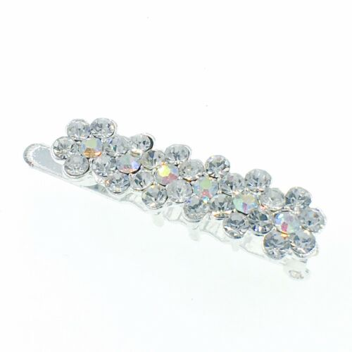 USA Magnet Hair Clip Rhinestone Crystal Hairpin Barrette Bridal Flower Silver #1