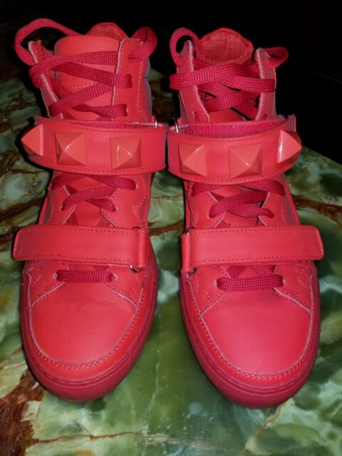GIACOMORELLI RED LEATHER STRAP STUDDED HIGH TOP SNEAKERS SHOES 9 40 ... 27dd225f443