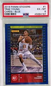Trae-Young-2019-20-Panini-NBA-Sticker-amp-Card-Collection-Blue-Foil-299-PSA-6
