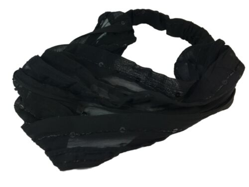 Extra Wide Black Chiffon /& Sequin Fabric Bandana Hair Alice Band Head Band