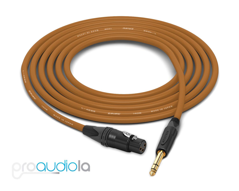 Canare Quad L-4E6S Cable   Neutrik Gold XLR-F to TRS   braun 200 Feet   200 Ft.