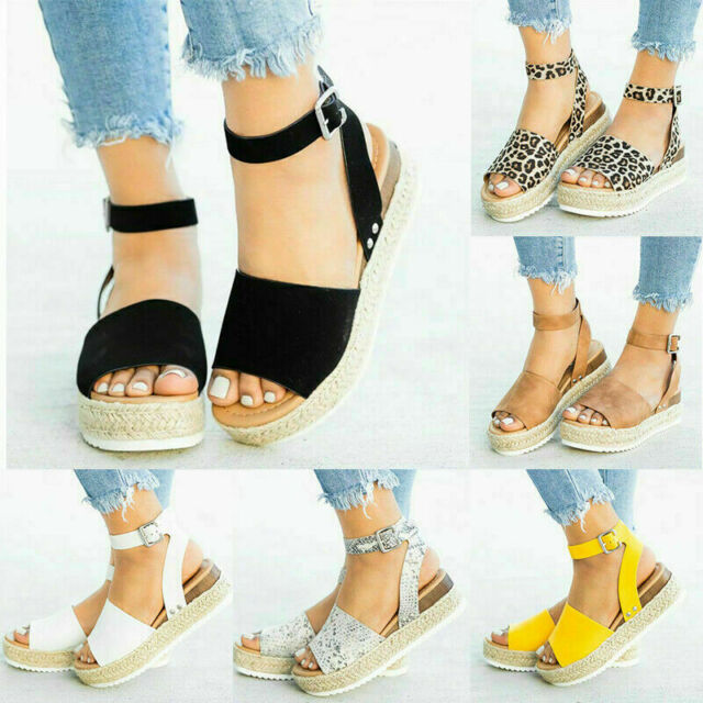240ccb67390 Summer Women's Leopard Print Sandals Ankle Strap Platform Ladies  Espadrilles IN