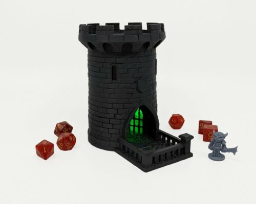 """Green DnD Castle Lighted 5/"""" Dice Tower Dungeons and Dragons Dice Roller"""