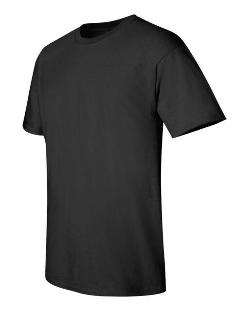 Hanes TAGLESS Mens Cotton T-Shirt Plain Black 5XL