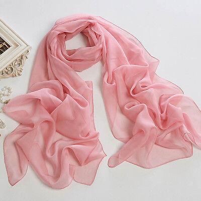 Women's Fashion Pink Soft voile silk Chiffon Lady Solid Scarf Wrap Shawl