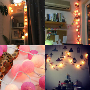 20-LED-Cotton-Ball-Fairy-String-Lights-Party-Wedding-Christmas-Decor-Lights-LW
