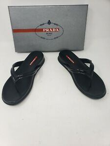 PRADA-Thong-Sandal-Sz-38-5-8-Black-Patent-Leather-Slide-Calzature-Donna-in-Box