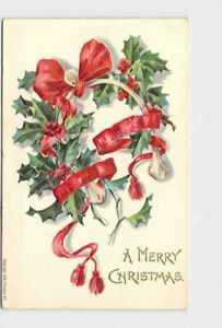 PPC-POSTCARD-MERRY-CHRISTMAS-HOLLY-WISHBONE-RED-RIBBON-EMBOSSED